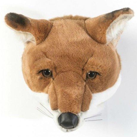 Wild and Soft Dierenkop vos Louis bruin wit textiel 26x29x28cm