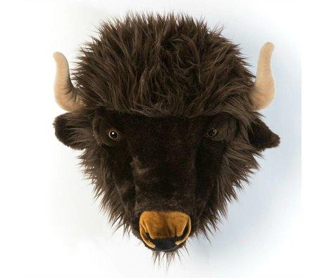 Wild and Soft Dierenkop buffel Alex grijs textiel 35x39x30cm