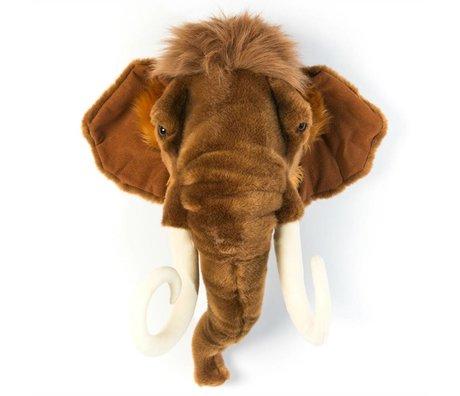 Wild and Soft Dierenkop mammoet Arthur bruin textiel 24x50x56cm
