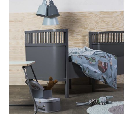 Sebra Babybed donker grijs hout 112,5x70x88cm