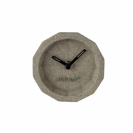 Zuiver Klok Bink Time concrete, kunststof grijs met zwarte wijzers 15x15x8,5cm