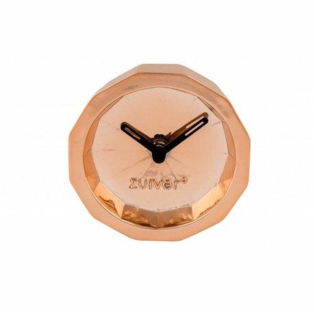 Zuiver Klok Bink Time copper, metaal koper met zwarte wijzers 15x15x8,5cm