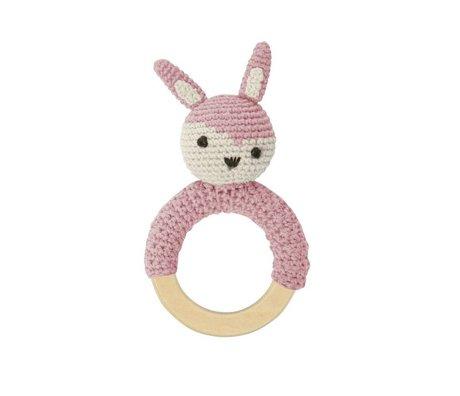 Sebra Rammelaar konijn roze katoen 15x8cm