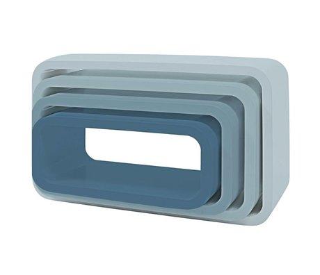 Sebra Opbergbox ovaal set van 4 blauw hout (50x30+45x25+40x20+35x15) x 20cm