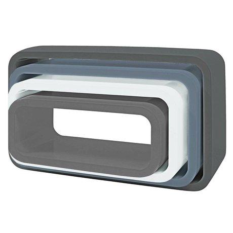 Sebra Opbergbox ovaal set van 4 grijs hout (50x30+45x25+40x20+35x15) x 20cm