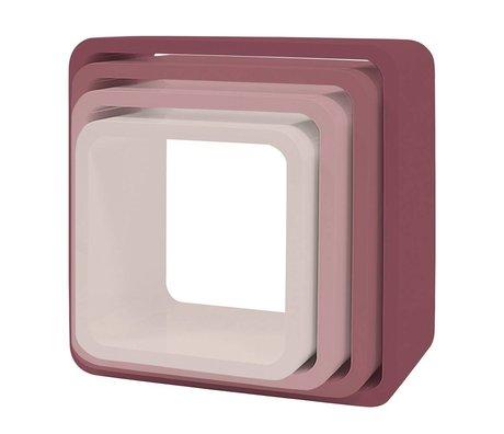 Sebra Opbergkubus set van 4 roze hout (43x43+38x38+33x33+28x28) x 20cm