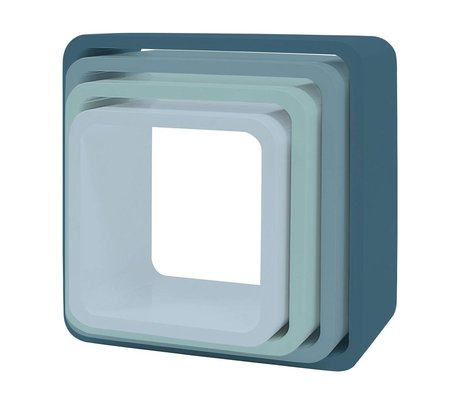 Sebra Opbergkubus set van 4 blauw hout (43x43+38x38+33x33+28x28) x 20cm