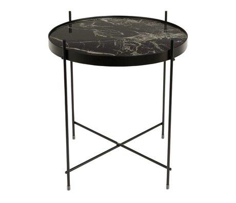 Zuiver Bijzettafel Cupid marble black, metaal zwart Ø43x45cm