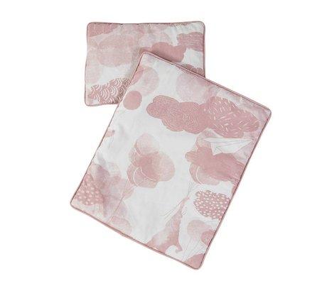 Sebra Poppen beddengoed roze katoen 34x28+23x16cm