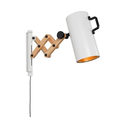 Zuiver Wandlamp Flex staal hout wit 10x27,5-43x24cm