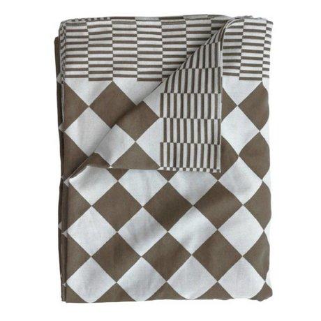 HK-living Tafelkleed blokjes bruin katoen 140x200cm