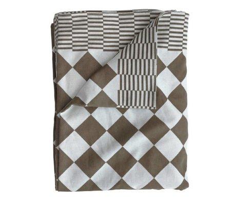 HK-living Tafelkleed blokjes bruin katoen 160x250cm