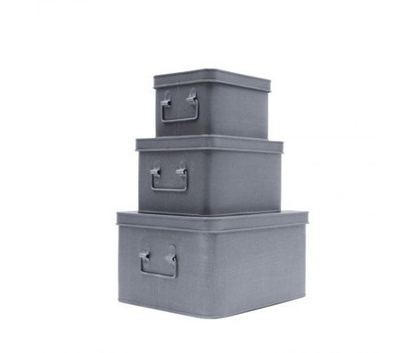 LEF collections Opbergbox set van 3 grijs metaal