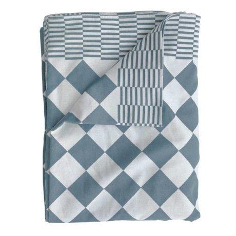 HK-living Tafelkleed blokjes blauw katoen 160x250cm
