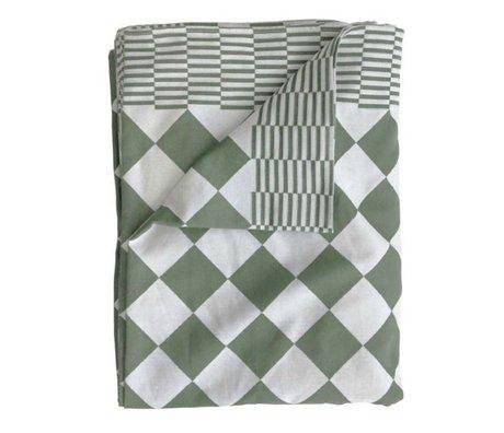 HK-living Tafelkleed ruitvormig patroon groen katoen 160x250cm