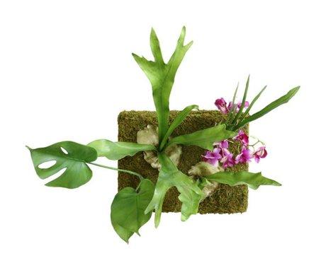 HK-living Wandpaneel kunstbloemen groen kunststof 66x39x46cm