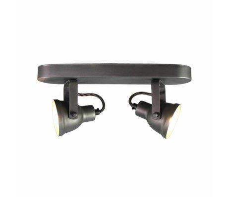 LEF collections Wandlamp spot max 2-light grijs/zilver metaal 30x8,5x15,5cm