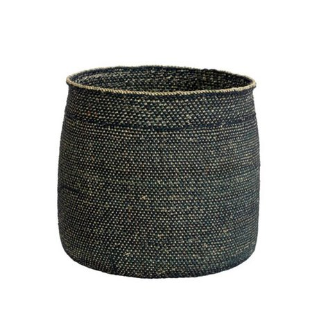 HK-living Mand Iringa zwart naturel milulu grass ±33x33x31cm