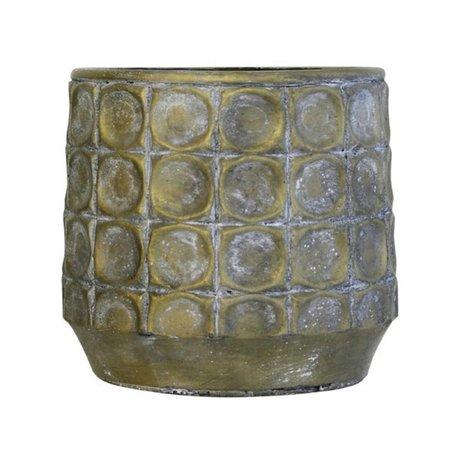 HK-living Bloempot goud cement large 19x19x18cm
