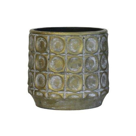 HK-living Bloempot goud cement medium 16x16x15cm