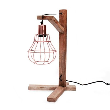 LEF collections Wandlamp drop bruin hout 20x26x19cm