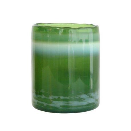 HK-living Waxinelichthouder groen glas 9x9x11cm