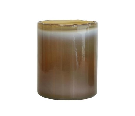 HK-living Waxinelichthouder khaki bruin glas 9x9x11cm