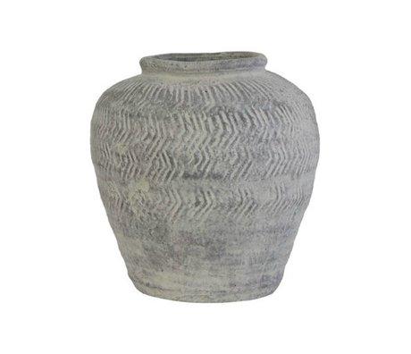 HK-living Vaas grijs cement medium 24,5x24,5x26cm