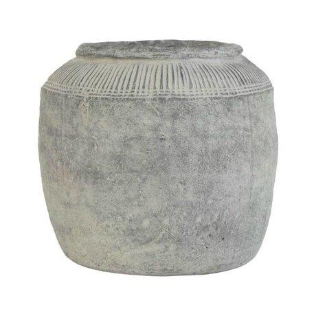 HK-living Bloempot grijs cement large 29x29x28cm