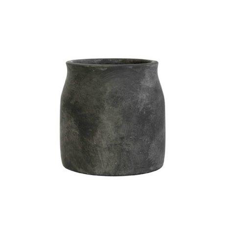 HK-living Bloempot zwart cement medium 16,5x16,5x17cm