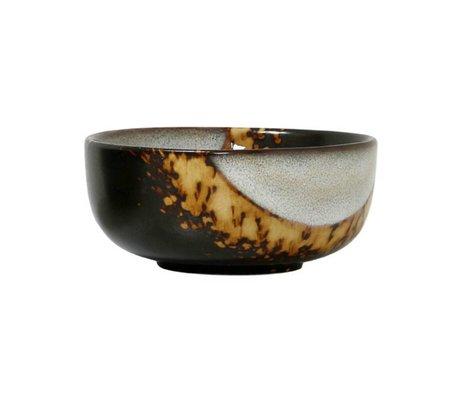 HK-living Schaal Flame '70's style bruim keramiek medium 11x11x5cm