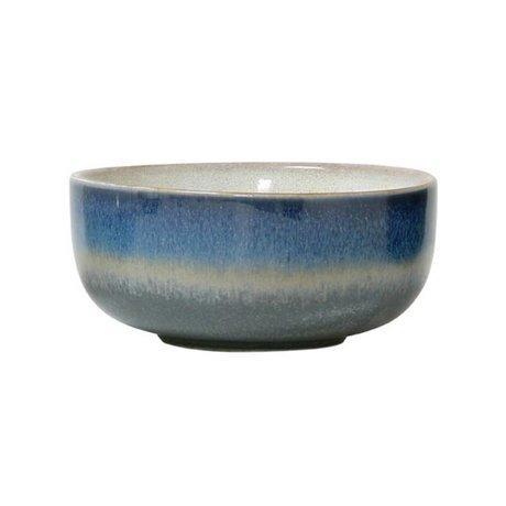 HK-living Schaal Ocean '70's style blauw keramiek medium 11x11x5cm