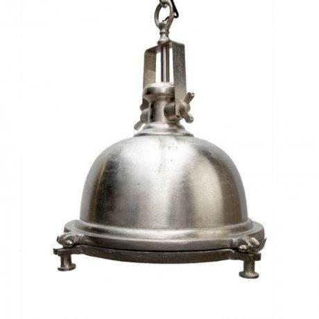 LEF collections Hanglamp madera zilver/grijs metaal 42x42x50cm