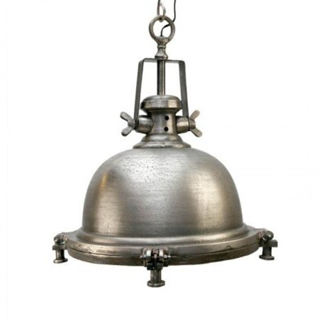 LEF collections Hanglamp madera zilver/grijs antiek metaal 42x42x50cm