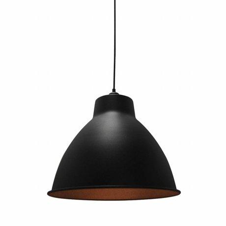 LEF collections Hanglamp dome zwart metaal 42x42x36cm