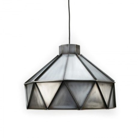 LEF collections Hanglamp Triangle zink grijs aluminium 42x42x32cm