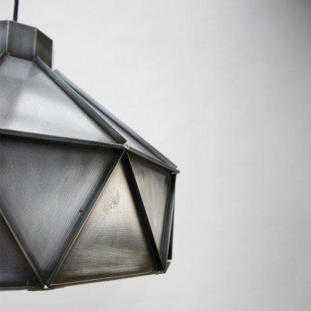 Lef collections hanglamp triangle zink grijs aluminium 42x42x32cm - Kleur grijs zink ...