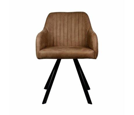 LEF collections Eetkamerstoel Floor tanny bruin PU leer 55,5x60x84cm