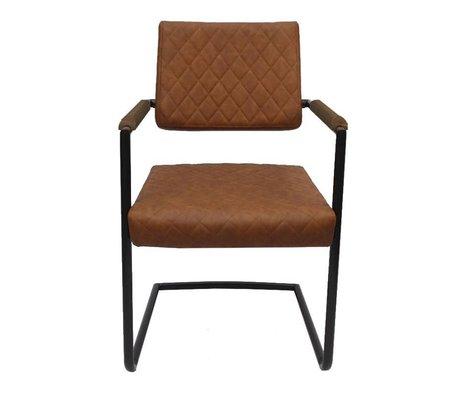 LEF collections Eetkamerstoel Bergen bruin textiel 55x61x84cm