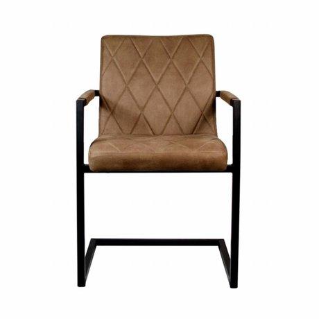 LEF collections Eetkamerstoel Denmark bruin textiel 55x55x85cm