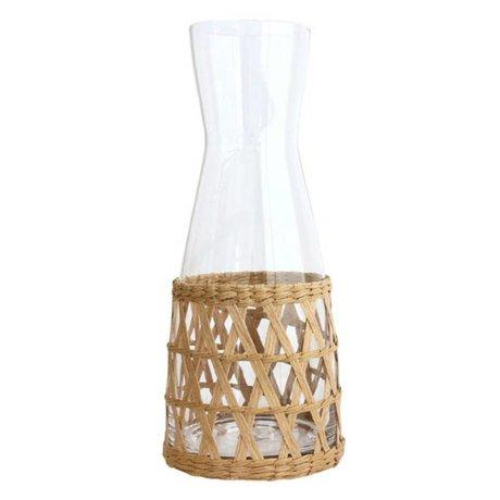 HK-living Kan bruin glas en riet 10x10x25cm