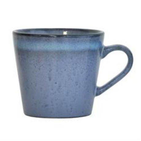 HK-living Cappuccino mok Wave '70's style blauw keramiek 12x9,5x8,5cm