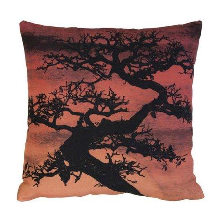 HK-living Kussen 'bonsai sunset' rood en zwart katoen 45x45cm