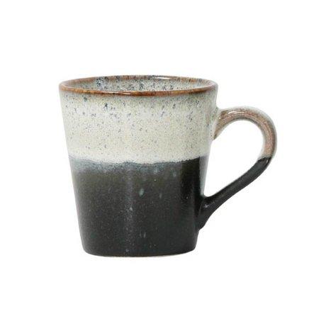 HK-living Espresso kop rock '70's style zwart wit keramiek 5,8x8x6,2cm