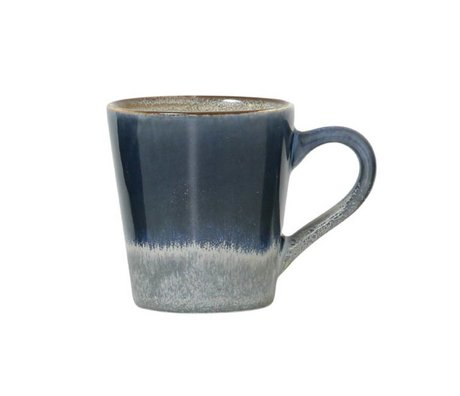 HK-living Espresso kop ocean '70's style blauw keramiek 5,8x8x6,2cm