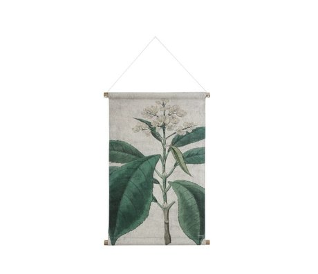 HK-living Schoolplaat Botanisch geprint multicolor katoen hout 65x45,5x2,5cm