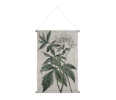 HK-living Schoolplaat Botanisch geprint multicolor katoen hout 85x59,5x2,5cm