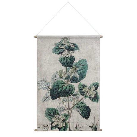 HK-living Schoolplaat Botanisch geprint multicolor katoen hout 100x70x2,5cm