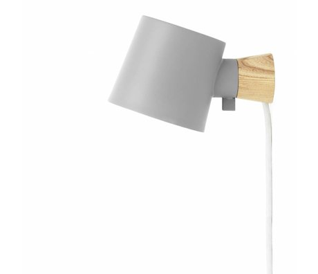 Normann Copenhagen Wandlamp Rise grijs metaal hout 9,7x17x10cm