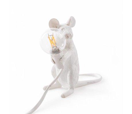 Seletti Tafellamp Mouse wit kunsstof 6,2x15x12cm
